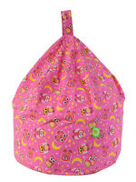 Large Adult / Teen Size Pink Owls Bean Bag With Beans By Bean Lazy