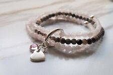 Multi Row Picasso and Pink Quartz Beads Elastic Bracelet Sterling Silver W/Charm