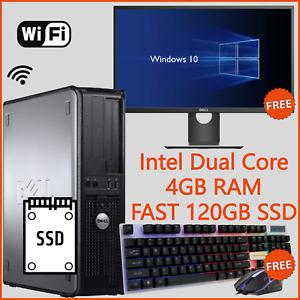 Fast Cheap Desktop PC Computer Bundle With Screen Full Set Windows 10 SSD WiFi