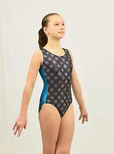 Gymnastics Leotard Intermediate Child(7-8 Years) black/silver/turquoise plaid