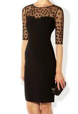 HOBBS NEVE BLACK SPOTTED SHEER LACE MESH PENCIL BODYCON DRESS 10 TWICE £149