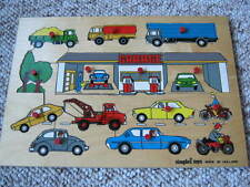Vintage Wooden Puzzle- Simplex Toys - Holland -Cars, Trucks, Motorcycles, Garage
