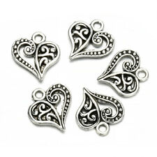30pcs Antique Silver Alloy Hollow Heart Charms Pendants Findings Crafts Lot