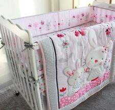 Set Of 4Pcs Angel Rabbit Baby Crib Cot Bedding Quilt Bumper Sheet Dust Ruffle A+