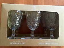 Outdoor Collection set of 6 Acrylic Wine Glasses, Crystal Bevel Design, NEW, FS
