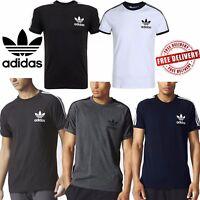 adidas Mens Original California T-Shirts Trefoil Logo Sports 3 Stripes Top Tees