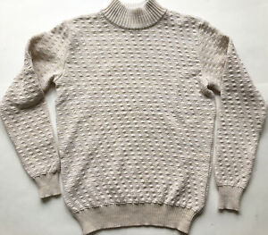 S.N.S SNS Herning Off White Bubble Knit Fisherman Mock Neck Sweater Size XL