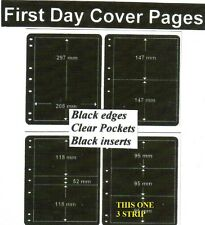 3 pocket Black edge & inerts clear pockets First day cover pages pack of 10 fdc