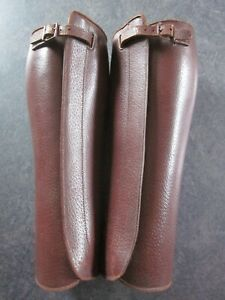 Vintage Military WW1 Brown Leather Officers Gaiters WW1