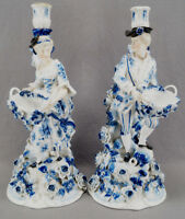 Pair of Sitzendorf Hand Painted Dresden Style Figurine Candle Sticks C 1887-1900