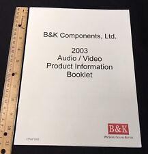 B&K 2003 Audio Video Product Information Booklet Reference AVR ST AV Phono