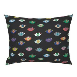 Colorful Eyes Mod Abstract Multicolor Modern Black Pillow Sham by Roostery