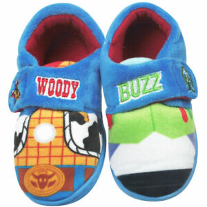 BOYS NEW TOY STORY SLIPPERS WOODY BUZZ TOUCH FASTENING HOUSE SHOES SIZE 6 - 12
