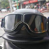 Motorcycle Half Helmet w/Motocross Goggles PU Leather Skull Cap Scooter Chopper