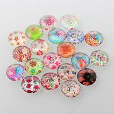 LOT de 10 CABOCHONS en VERRE MOTIFS FLEURS FLORAL FLOWERS ronds 10mm perles
