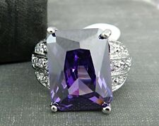 Sterling Silver & Purple Stone Cocktail Ring - Size 8.5
