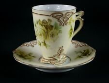 Hermann Ohme Old Ivory 75 Chocolate Cup & Saucer, Antique Silesia, Large Roses