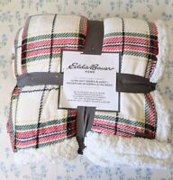 "NEW Eddie Bauer White Red Green Plaid Full/Queen 90"" x 90"" Sherpa Blanket"