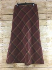 Willi Smith Maxi Skirt Womens Size 12 Diagonal Plaid 100% Wool High Waist Lined