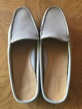 Tommy Bahama 7 M Leather Mule Slides Flats Sky Blue Moccasin Loafer Shoe