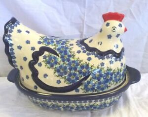 "Polish Pottery Boleslawiec UNIKAT Blue & White Floral Hen Covered Dish 13"" 16A"