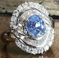 Platinum 3.56ctw Diamond 2.73ct Sapphire Ballerina Ring 11.5g GIA Cert