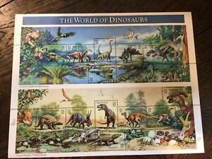 USA 🇺🇸 1997 MNH THE WORLD OF DINOSAURS, FULL SHEET Stamps