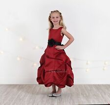 Christmas Apple Red Flower Girl Dress Pageant Bubble Sizes 2 3 4 6 8 10 12 14 16