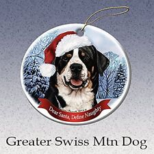 Holiday Pet Gifts Greater Swiss Mountain Dog Santa Hat Dog Porcelain Ornament