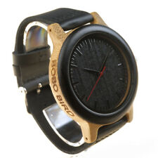 BOBO BIRD WOODEN WATCH MENS OFFICIAL DESIGNER COWHIDE EBONY M13 UNIQUE UK BRAND