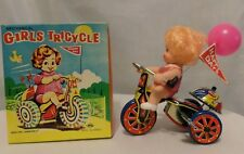 Vintage Girls Mechanical Tricycle With Wind-up Key & Revolving Bell Original Box