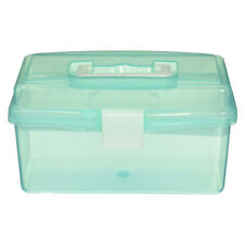 Clear Turquoise Plastic Tray 2 Compartment Tool Storage Box Case C3W3 A4R9 B0T0