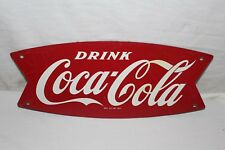 Original Vintage c.1960 Coca Cola Fishtail Soda Pop Gas Station Metal Sign