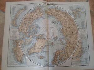 Old Map NORTH POLAR REGIONS ~ Taken From The Universal Atlas 1893