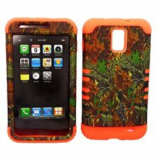 HYBRID Cover Case+Samsung Galaxy S2 i727 SkyRocket Camo Mossy Mix Leaves Orange