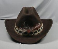 ec5574886f6 Vtg Range Rider Hat Brown Cowboy Western Feather Wool