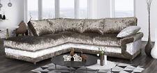New Pose Left Corner Sofa Brown/Mink Formal Back in Fabric Crushed Velvet