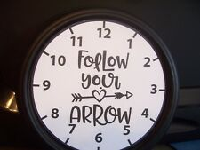 """WALL CLOCK- CAMPING THEME. #3   Battery operated 9"""" """"Follow Your Arrow""""-camping"""