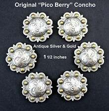 LOT OF 6 CONCHOS ANTIQUE SILVER & GOLD PICO BERRY WESTERN RODEO LEATHER 1 1/2 ""