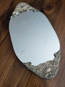 Vintage Silver Mirror Footed Vanity Tray