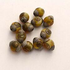 BDS280B Tibetan Nepalese Artisan Handmade White Metal Yellow Resin 12 Beads