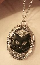 CUTE!  Shiny Floral Rimmed Black Cat Kitty Kitten Halloween Pendant Necklace +++