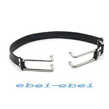 Faux Leather Belt Steel Mouth Open hook Restraint bondage Fetish Gag Fancy Tool