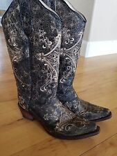 Circle G Corral L5048 Size 7.5M Womens Western Cowgirl Boots Brown Crackle/Bone