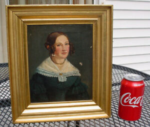 EARLY ANTIQUE OIL PAINTING O/C 1830s PRETTY LADY PORTRAIT SGN. W/ GILT FRAME N/R
