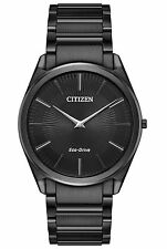 Mens Citizen Eco-Drive Thin Case Black Stainless Steel Stiletto Watch AR3075-51E