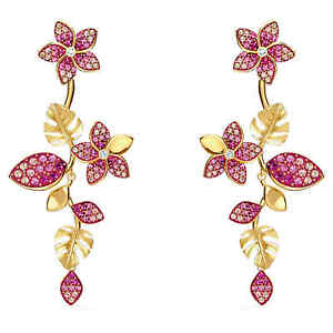 NWT SWAROVSKI Tropical Flower Pierced Earrings, Pink, Gold-tone plated 5520648