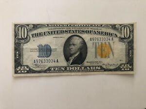 1934-A $10 FIVE DOLLARS NORTH AFRICA SILVER CERTIFICATE CURRENCY NOTE