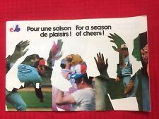 Vintage 1974 Montreal Expos Pamphlet & Schedule (Pour une saison de plaisirs!)