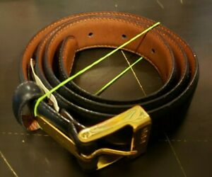 NEW Ladies Ralph Lauren Size SMALL Navy Blue Leather Belt w/ Gold buckle FREE sH